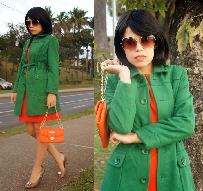 kleid-in-orange-und-ein-mantel-in-grün