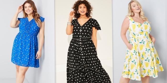 kledier für mollige, sommermode damen, blaues kleid mit kleinen blüten, sommerkleider ideen