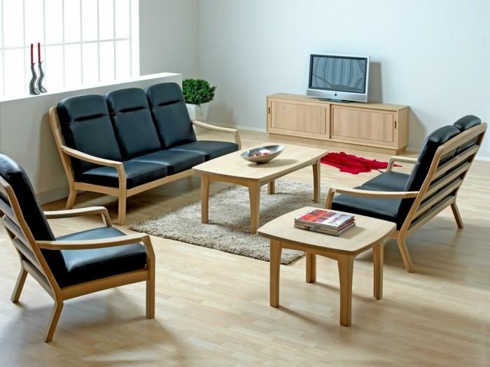 kleine-Sofas-Leder-schwarz-elegant-hölzerne-Möbel-Fernseher-Unterschrank