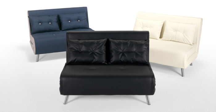 kleine-Sofas-mit-Schlaffunktion-verschidene-Farben-Kissen-Leder-Knöpfe