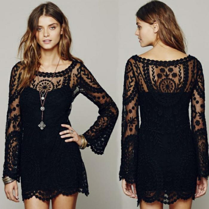 kurzes-schwarzes-Kleid-boho-style-Spitze