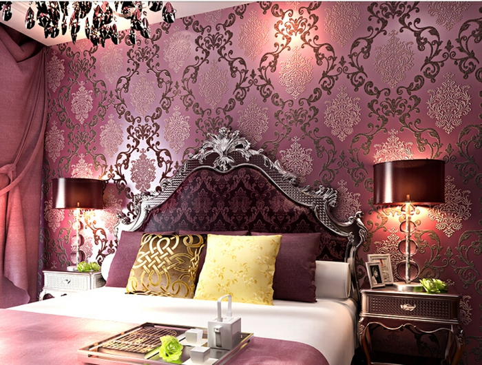 Superb Lila Tapete Barock Schlafzimmer Awesome Design