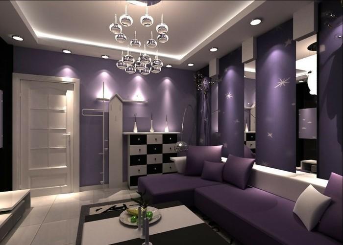 lila tapete 48 interessante ideen. Black Bedroom Furniture Sets. Home Design Ideas