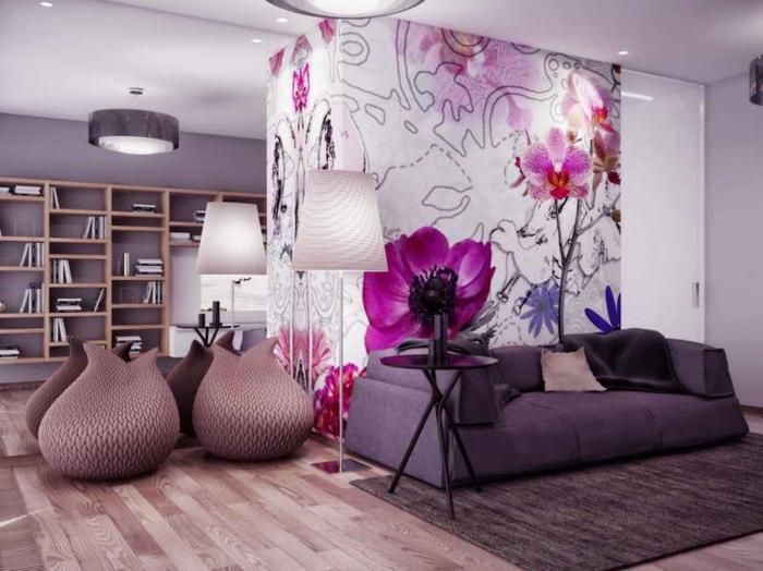 lila-tapete-moderner-innenraum
