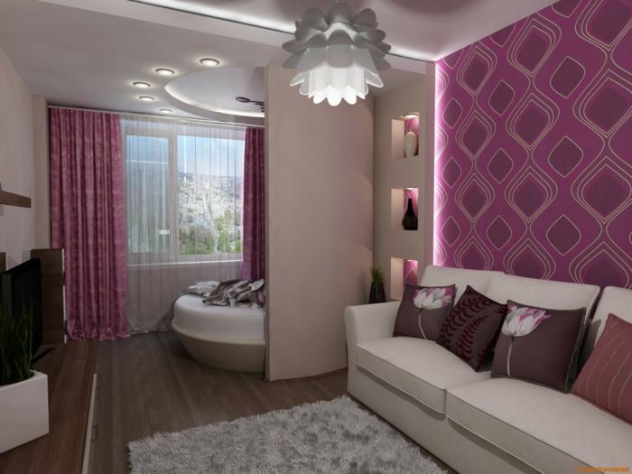 lila-tapete-schönes-wohnzimmer