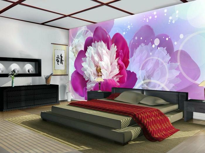 schlafzimmer tapeten lila elegant farbige bettwsche stauraum ideen ... - Schlafzimmer Tapeten Bilder