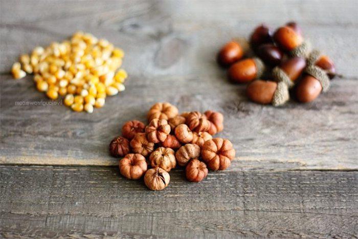 Materialien Für DIY Herbstdekoration, Eicheln und Mais in Einmachgläser füllen, Teelichter basteln