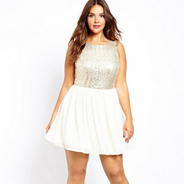 mode-für-mollige-weißes-kleid