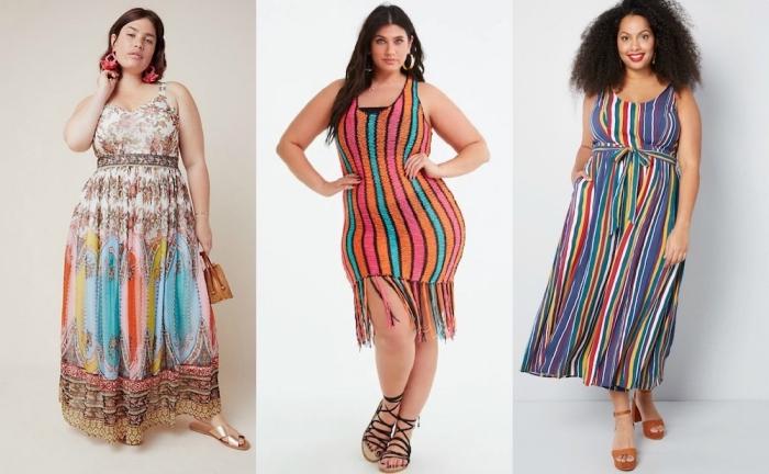 mode für große großen, sommeroutfit damen, trendige sommerkleider, sommermode, kleid mit streifen