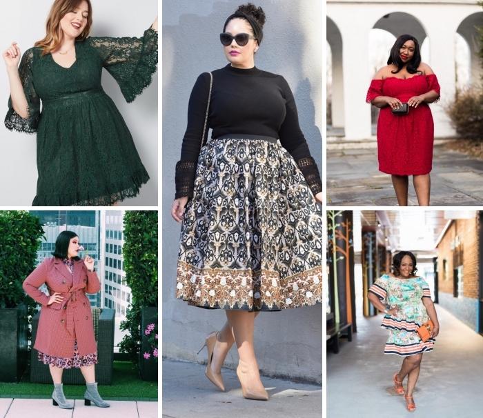 mode für mollige damen, grünes kleid mit spitze, schwarze bluse, weiter rock, rotes abendkleid