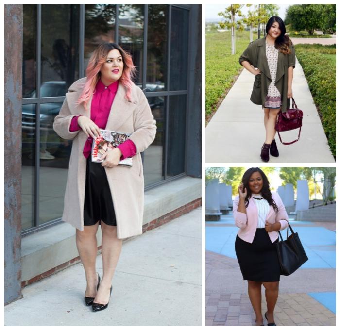 mode für mollige, business outfits für frauen, schwarzer rock, rosa hemd, beiger mantel