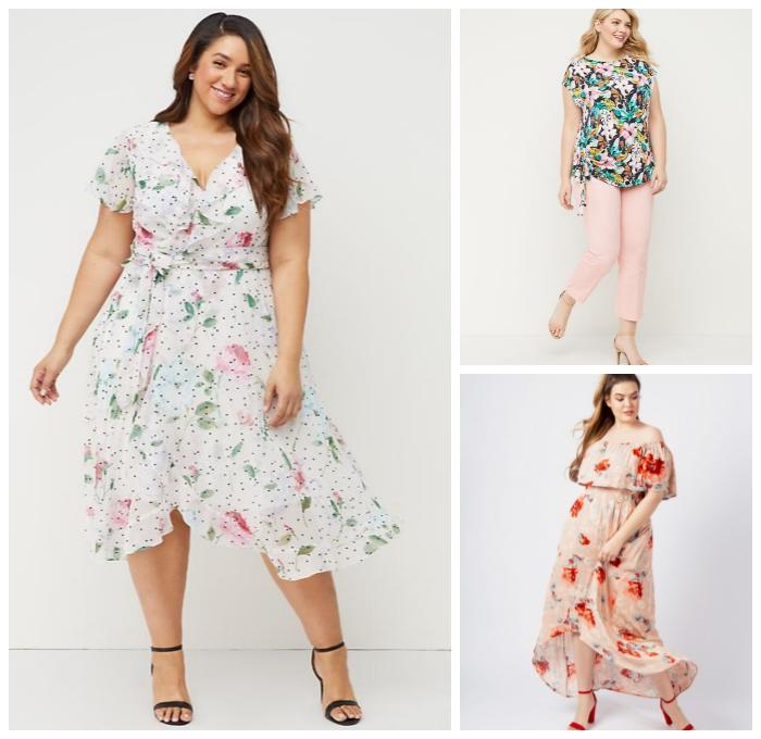 mode für mollige damen, sommeroutfit frauen, weißes kleid mit kurzen ärmeln, rosa hose, bluse mit floralen motiven