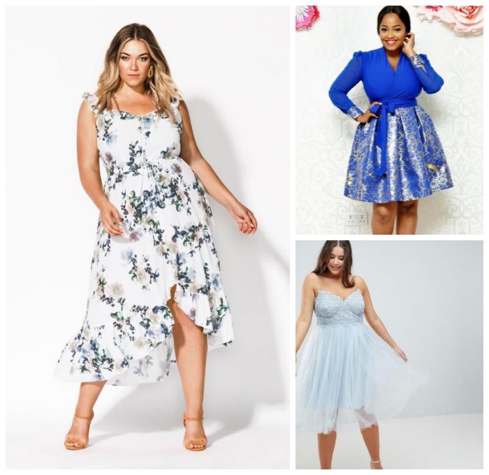 mode für mollige, festliche kleider, hellblaues abendkleid mit glitzer, weißes sommerkleid mit floralen motiven