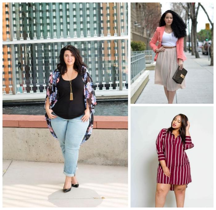 mode für mollige frauen, helle jeans, schwarze bluse, bunte weste, hemdkleid in weiß und dunkelrot