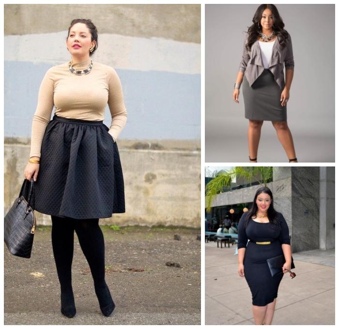 mode für mollige, weiter schwarzer rock mit beige pulli, stylische outfits für damen, gerades kleid