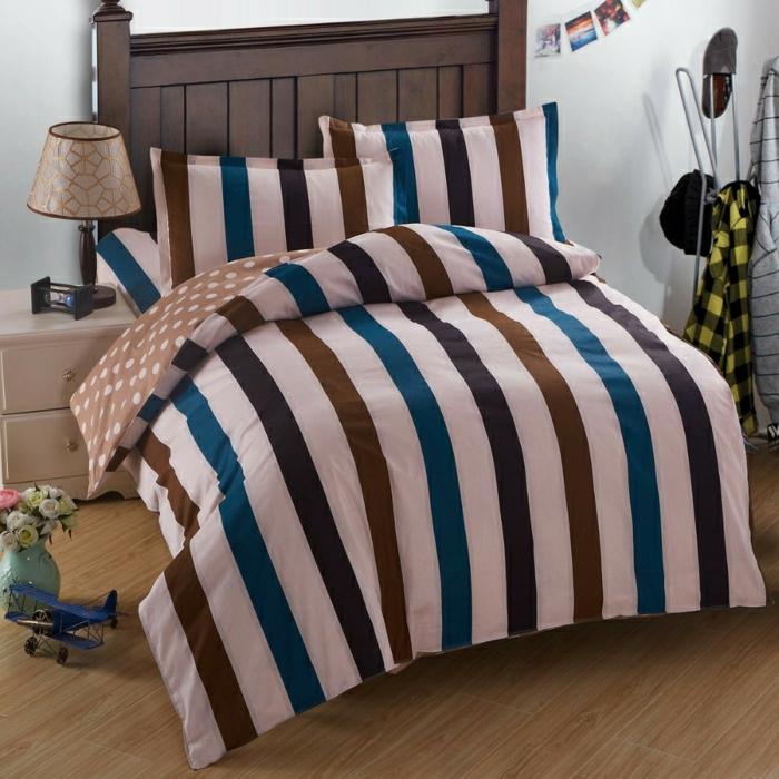 moderne-Bettdecke-Streifen-blau-braun-beige