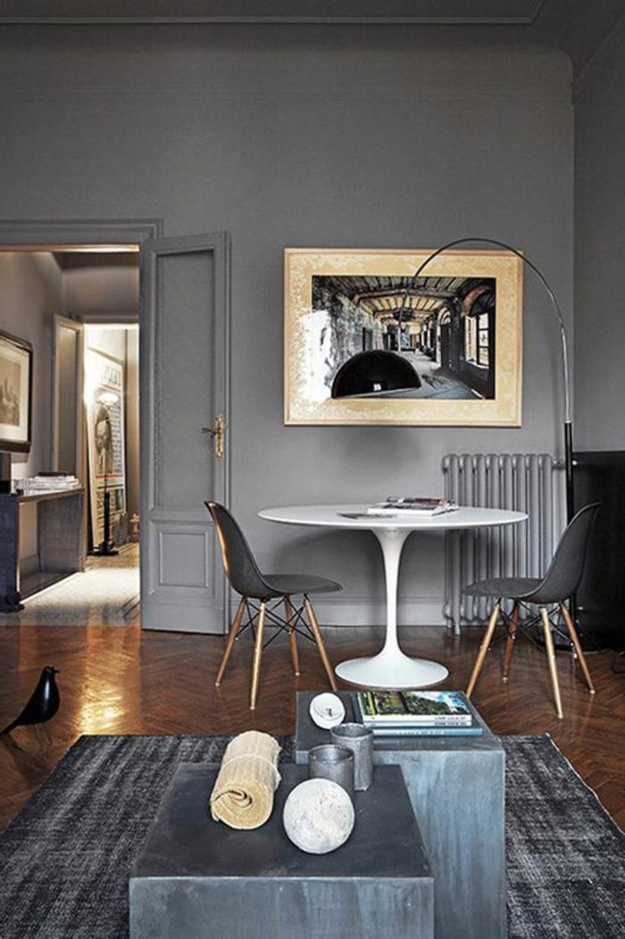 moderne-Einrichtung-Designer-Möbel-runder-weißer-Tisch-Stehlampe