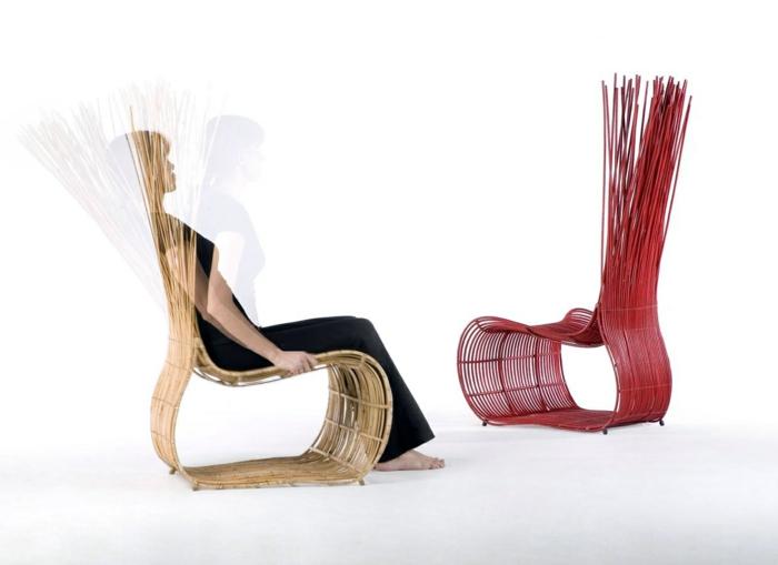 moderne-Stühle-beige-rotes-Modell