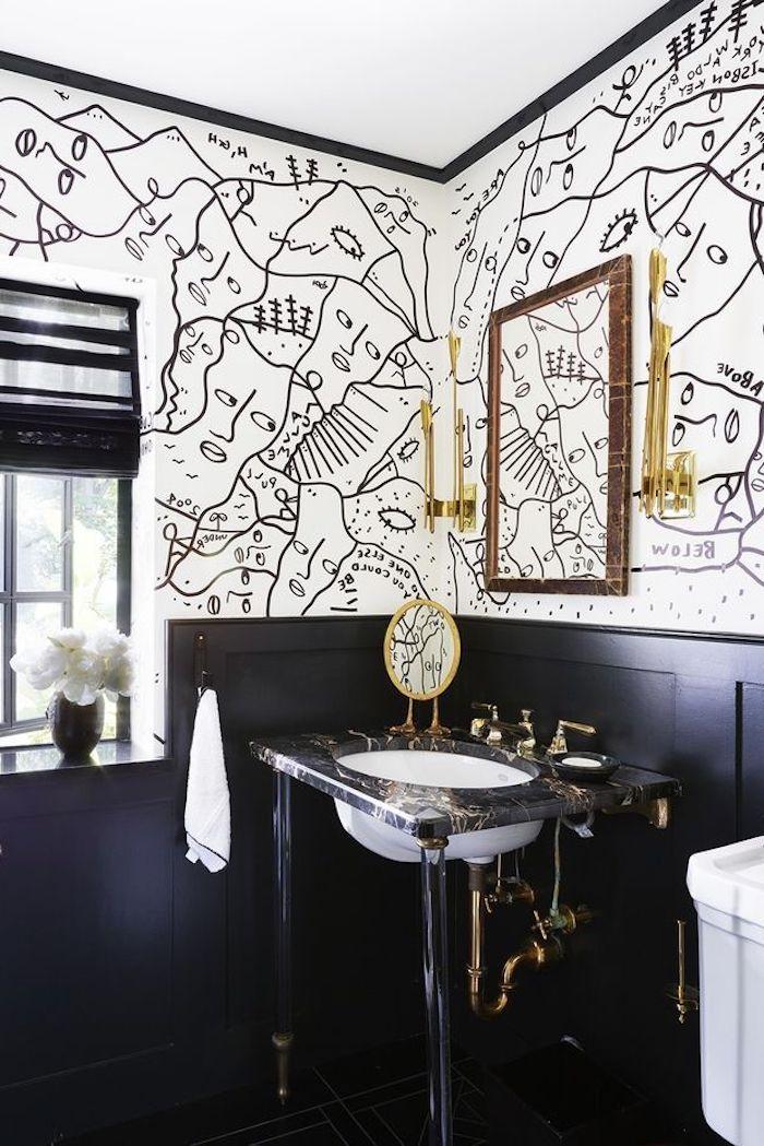 Badezimmer Ideen modern, Bad in Schwarz und Weiß, Wschbecken aus Marmor, viereckiger Spiegel