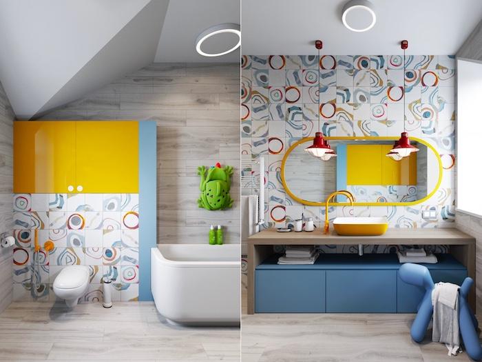 Badezimmer gestalten für Kinder, bunte Fliesen, heller Holzboden, Regal in Form von Frosch, abgerundeter Spiegel