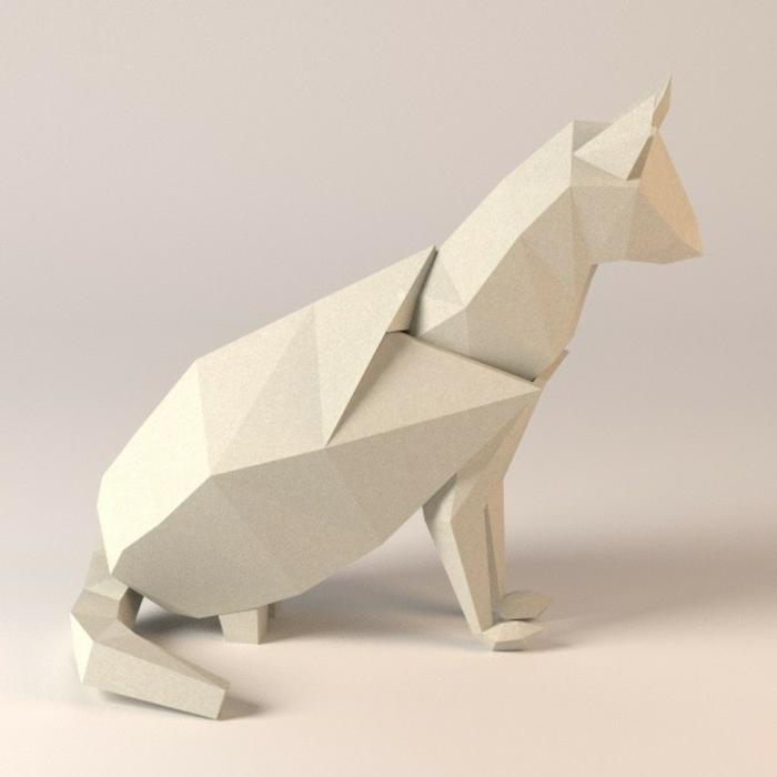 origami-tiere-eine-weiße-katze
