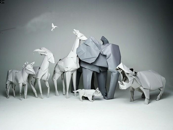 origami-tiere-grauer-elefant