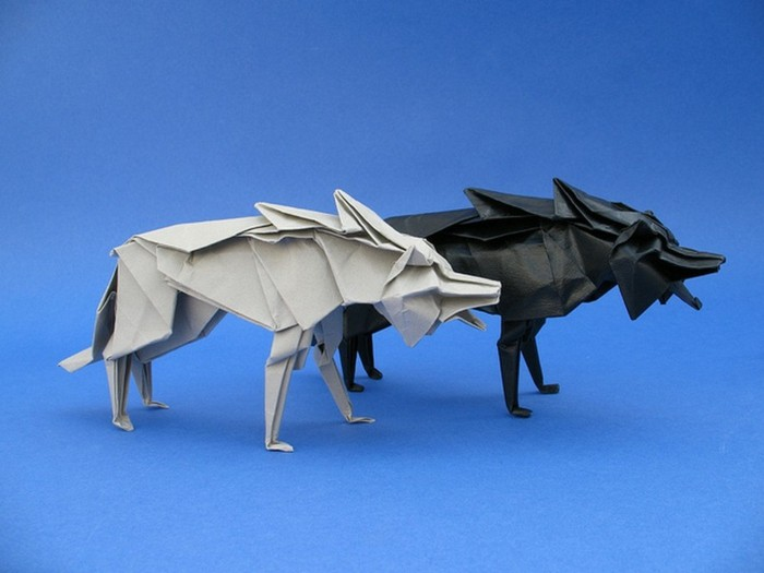 origami-tiere-zwei-wölfe
