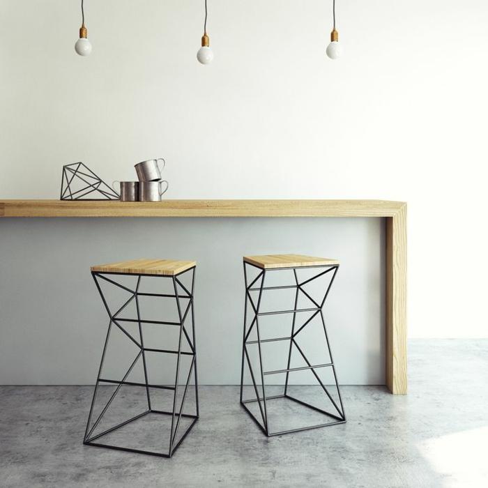 originelles-bar-hocker-design-interessante-Form-Geschirr-hängende-Glühbirnen