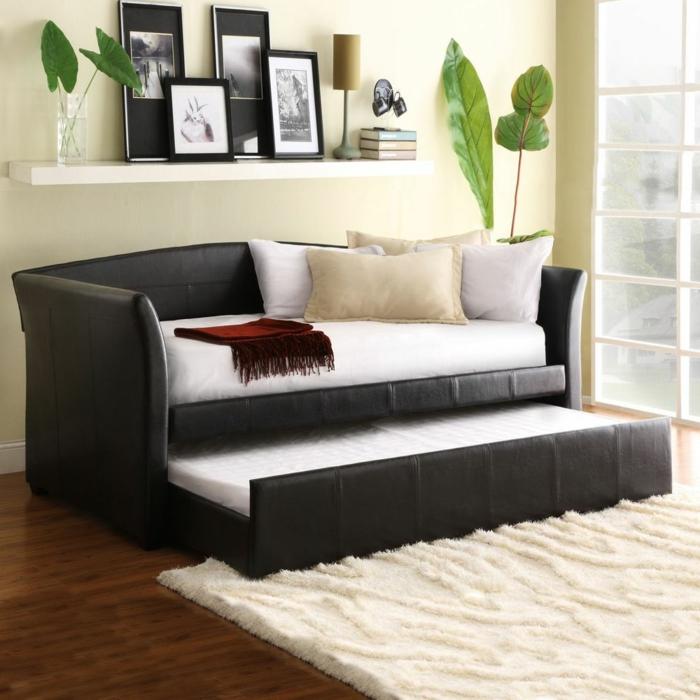 praktisches-Leder-Sofa-schwarz-Schlaffunktion-Platz-sparend-Fotos-Bücher-Pflanzen-flaumiger-Teppich