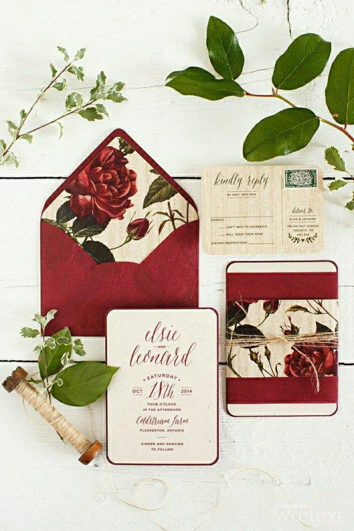 Romantische Idee Einladung Hochzeit Briefumschlag Rosen Rot Schnur 51  Originelle Designs Von Hochzeitseinladungen | Hochzeit ...