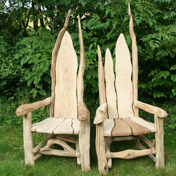 rustikale-Gartenmöbel-Throne-Massivholz-Treibholz-Eichenholz