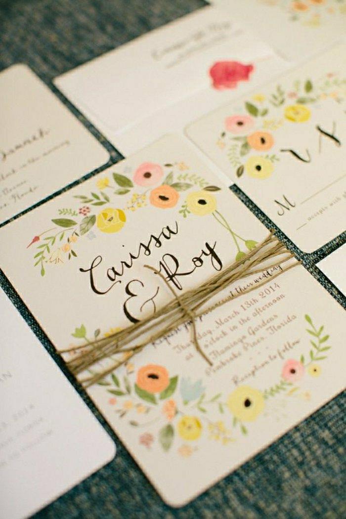 rustikale-Hochzeitseinladungen-Schnur-Blumen-Zeichnungen