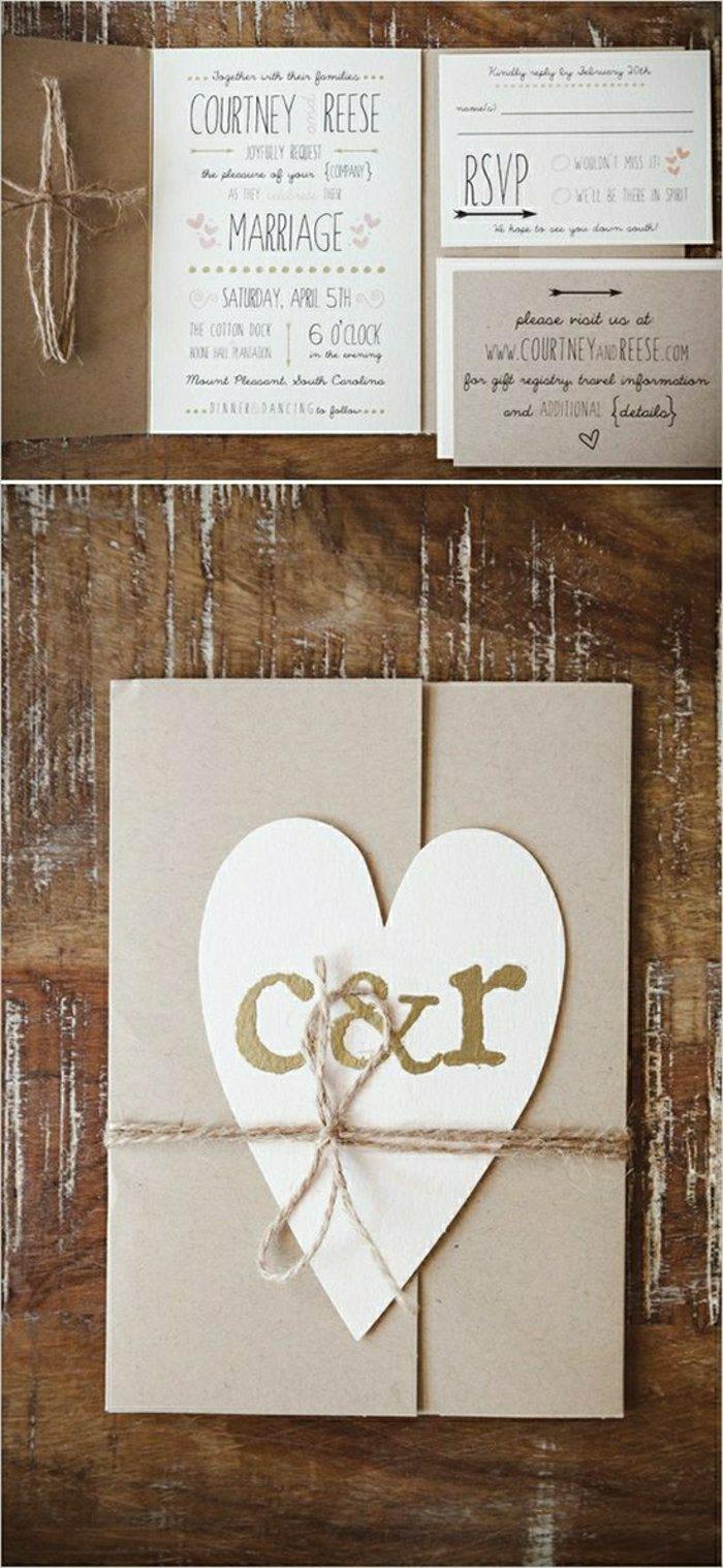 ... : rustikale einladungskarten hochzeit braun beige Schnur Herz