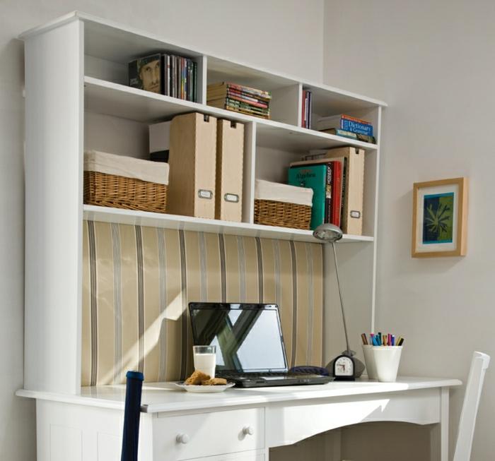 schreibtisch-weiß-Schubladen-Regake-Rattankörbe-Bücher-Laptop-Bleistifte-Milchglas-Cookies-Bild
