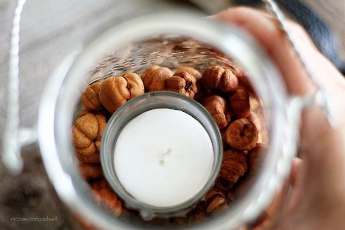 Herbstliches Teelicht einfach und schnell selber machen, aus Einmachglas