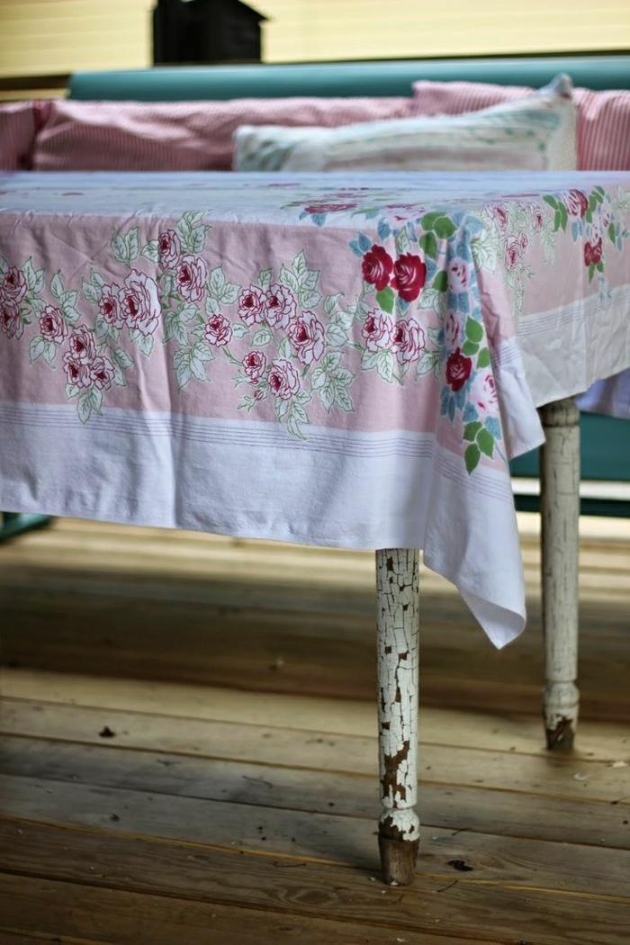 vintage-Tisch-shabby-chic-Tischdecke-Leinen