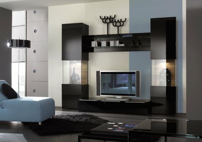 wandschrank-für-wohnzimmer-blaue-wand-und-schwarze-möbel