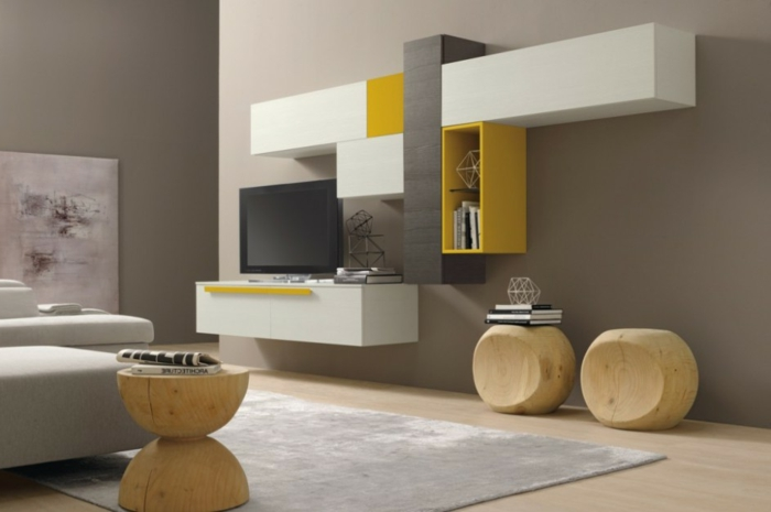 Wandschrank Für Wohnzimmer Weiß Und Taupe Kombinieren