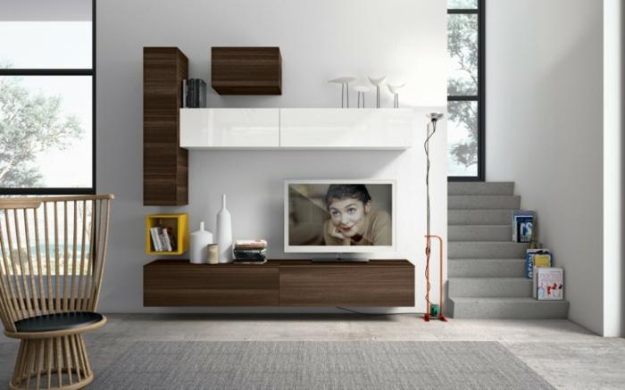 wandschrank-für-wohnzimmer-weiße-und-brau-zusammenbringen