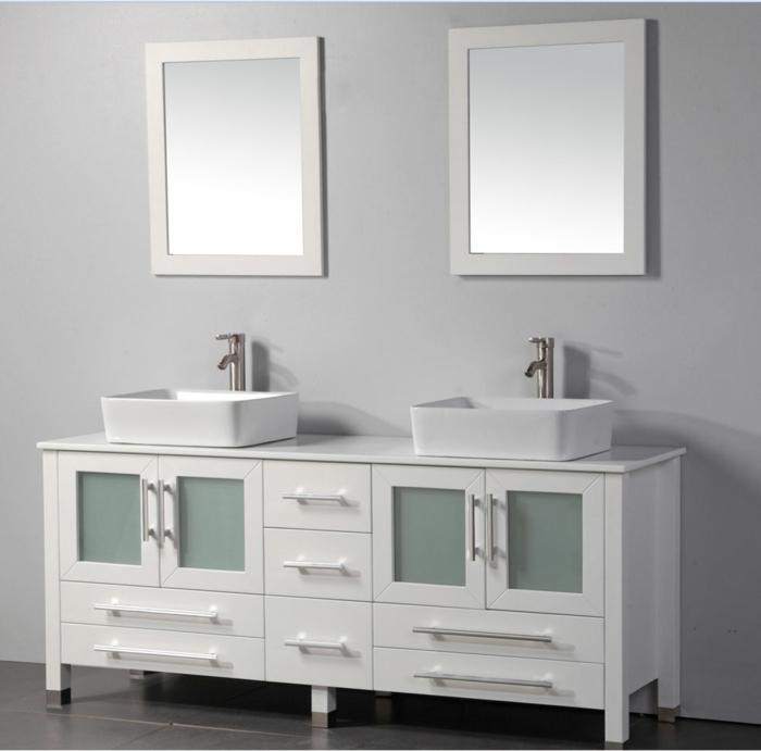 weiß-Wandschrank-für-Badezimmer-zwei-Waschbecken