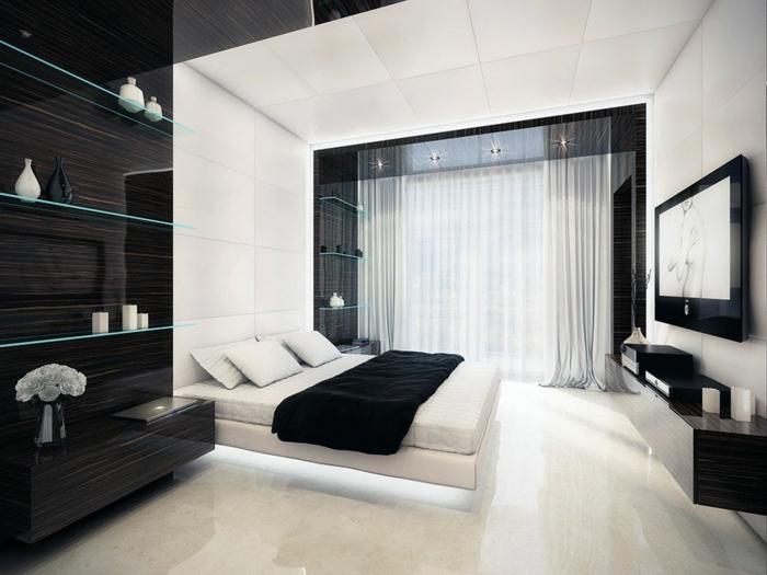 weiße-betten-weiß-und-schwarz-gestaltetes-zimmer