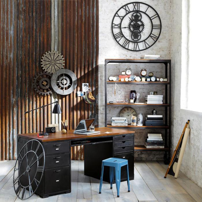 Arbeitszimmer-vintage-Designer-Wanduhren-retro-Elemente