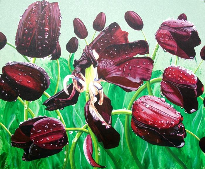 Art-Bild-schwarze-Tulpen-malerisch-meisterhaft