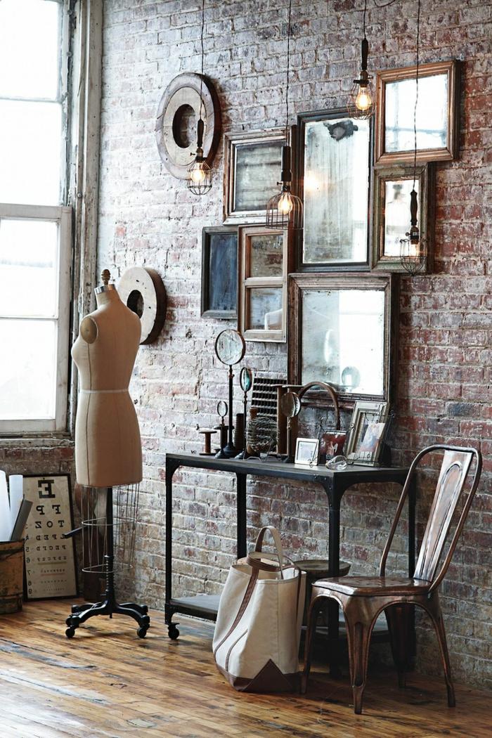 Atelier-modernes-Interieur-vintage-rustikale-industrielle-Elemente-Ziegelwände