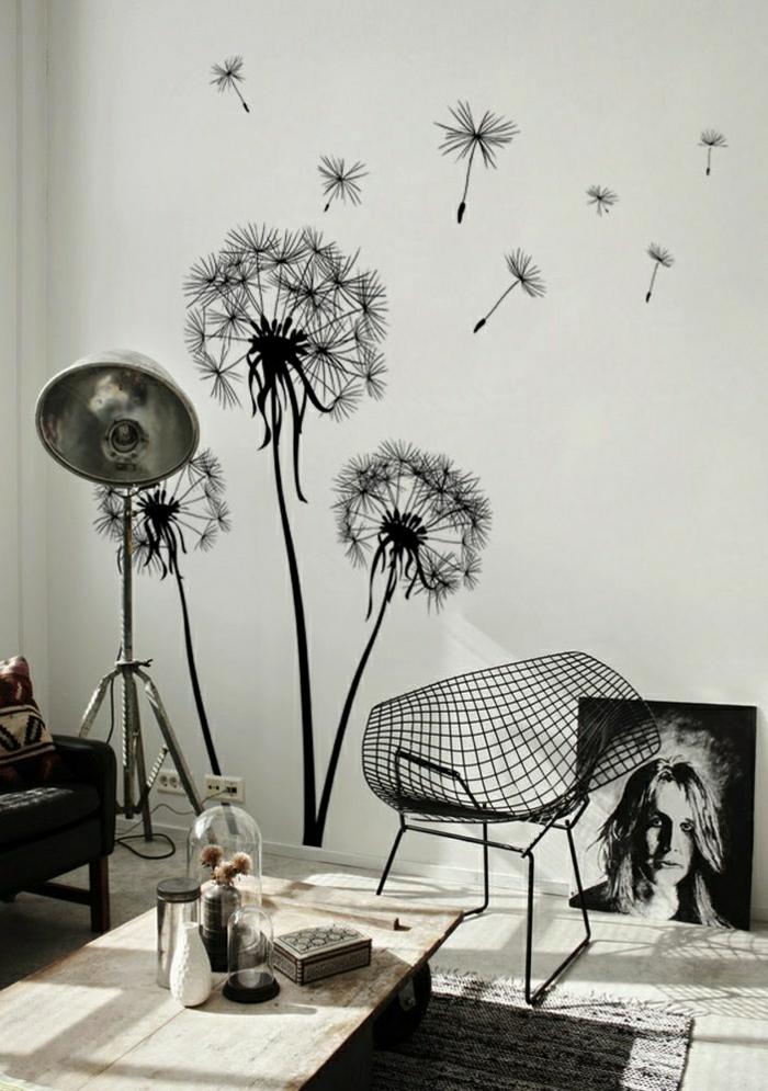 Atelier-weiße-Wände-schwarze-Wandtattoos-Löwenzähne
