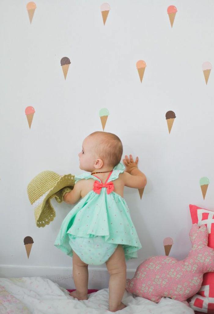 Babyzimmer-Kinderzimmer-weiße-Wand-Wandsticker-Eis-süßes-Baby