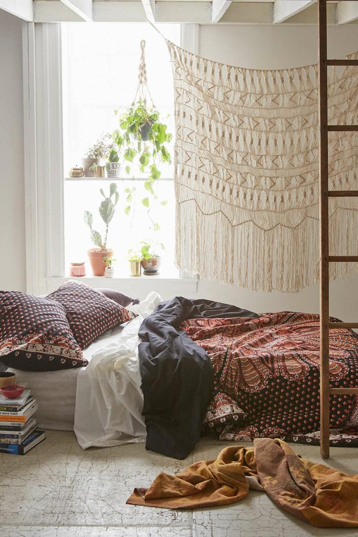 Boho-Stil-Schlafzimmer-Topfpflanzen-Wanddeko