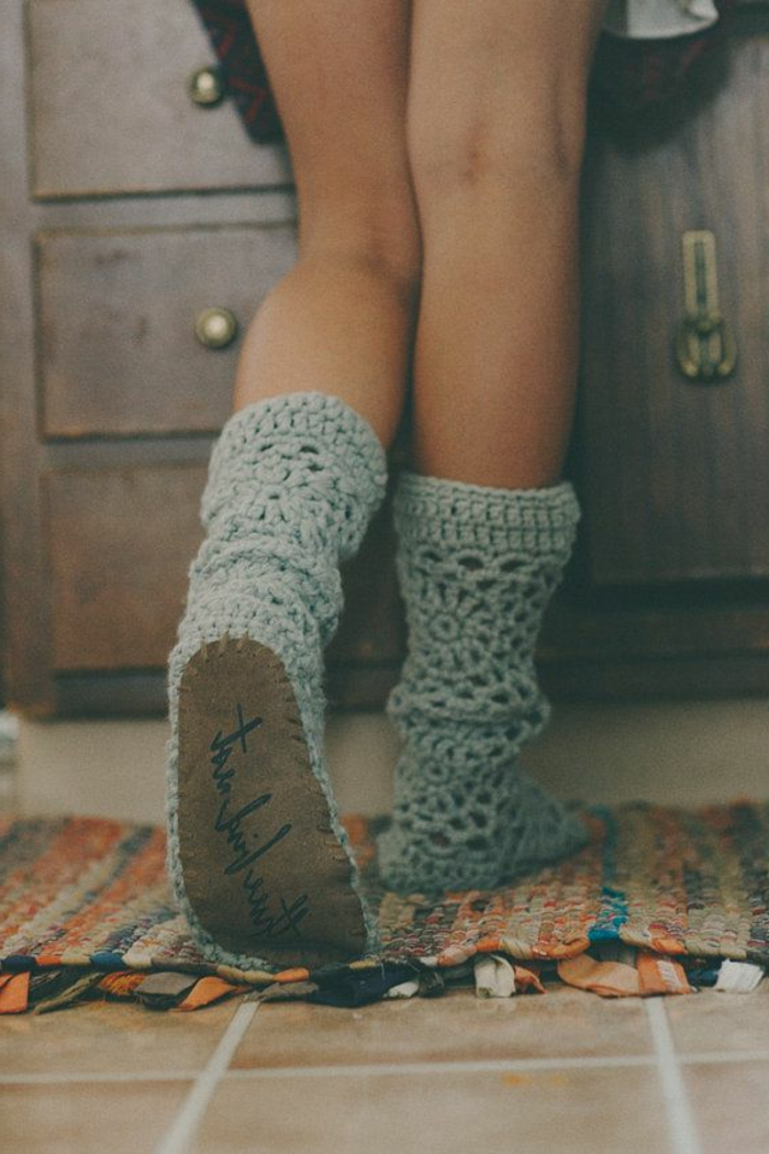 Crochet-Damen-Hausschuhe-Socken-attraktives-Modell