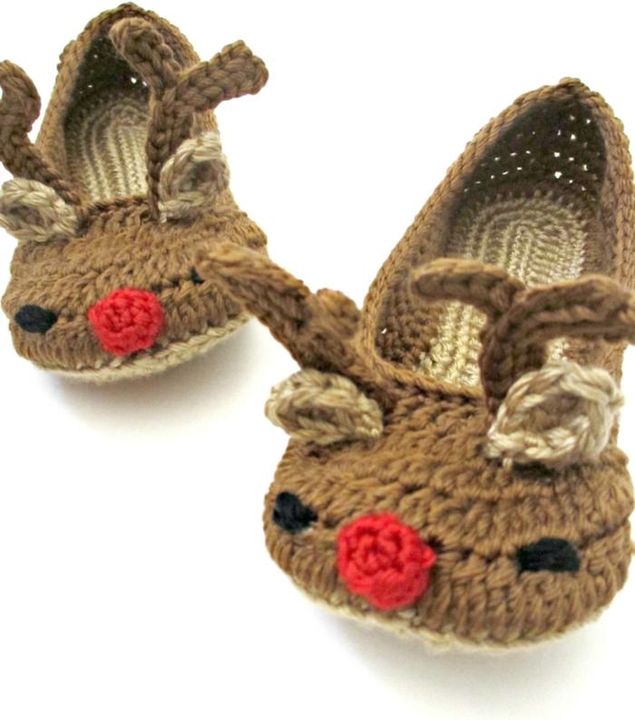 Crochet-Hausschuhe-Damen-Tiermuster-braun-lustiges-Modell