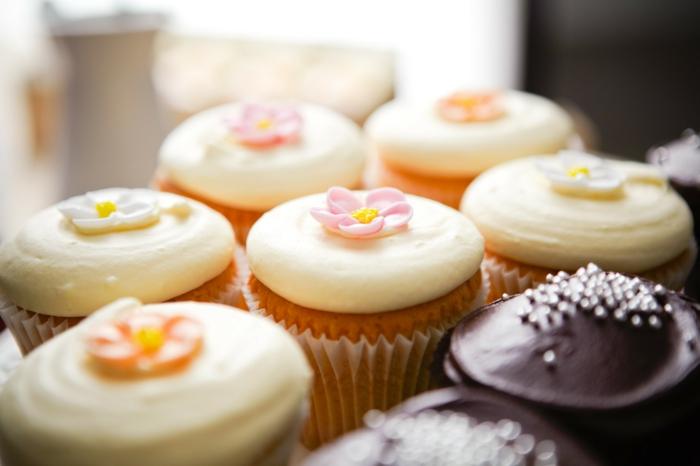 Cupcakes-Süßigkeiten-Schokolade-Vanille-Creme-Blumen-Dekoration